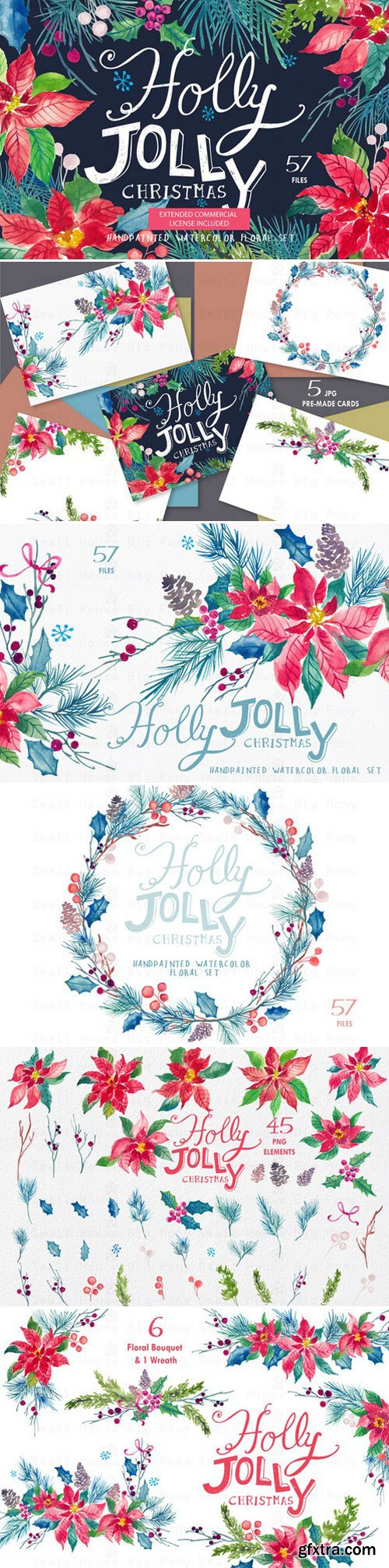 CM - Holly Jolly - Watercolor Floral Set 440417