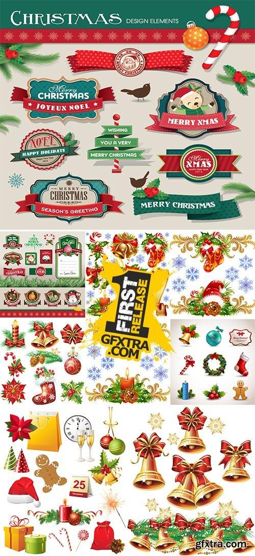 Stock Christmas design elements vector