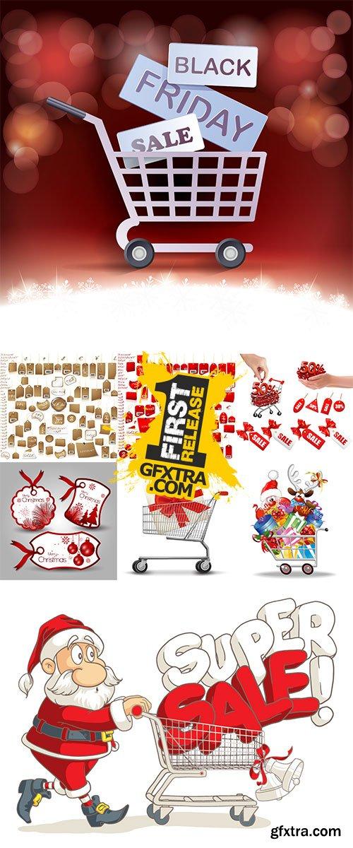 Stock christmas gift in cart vector