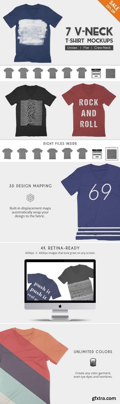 CM - V-Neck T-Shirt Apparel Mockups 347234