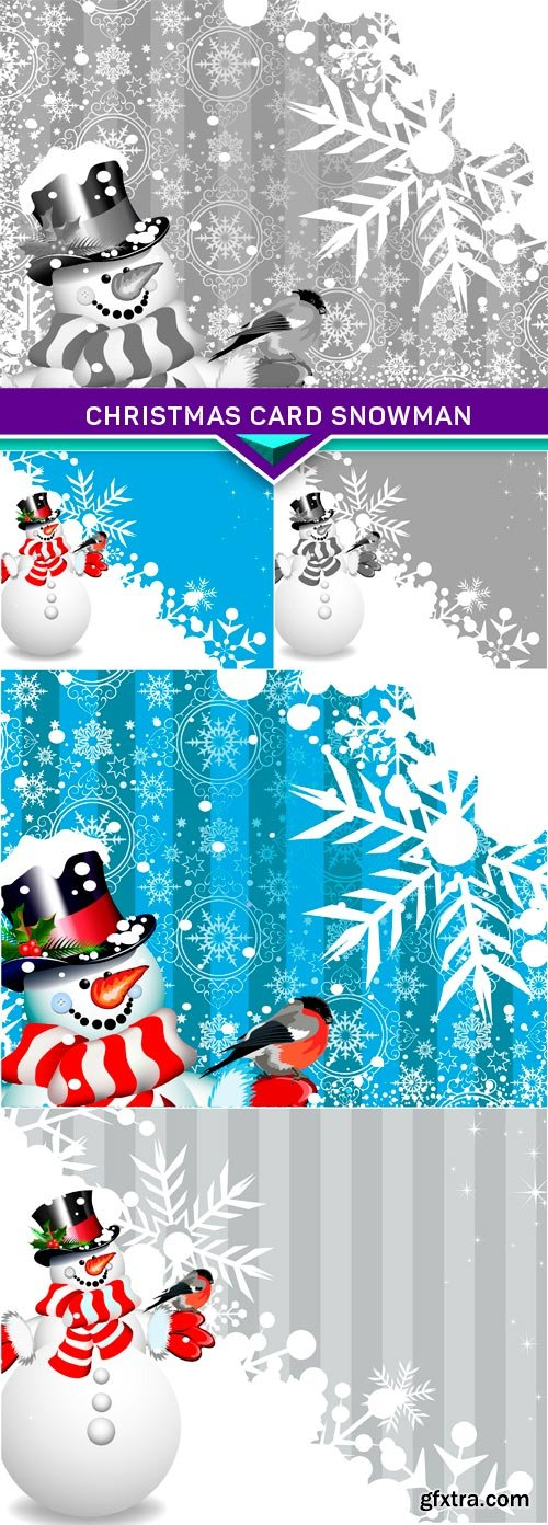 Christmas card Snowman 5x JPEG
