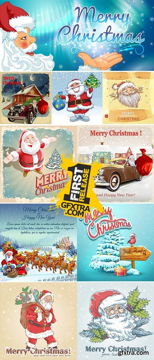 Stock vintage postcard santa vector