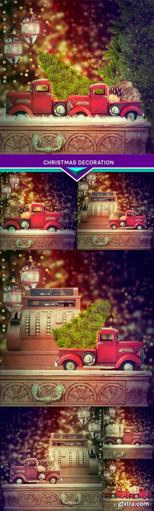 Old antique toy truck carrying christmas decoration 7x JPEG