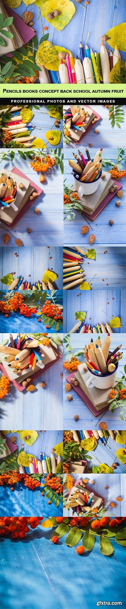 Pencils books concept back school autumn fruit - 15 UHQ JPEG