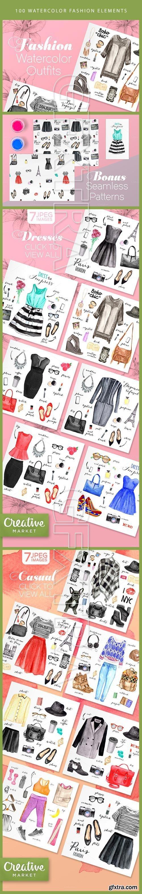 100 Watercolor Fashion Elements CM 141834
