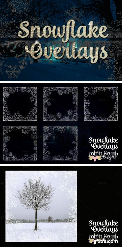 CM 21000 - Grungy Textured Snowflake Overlays