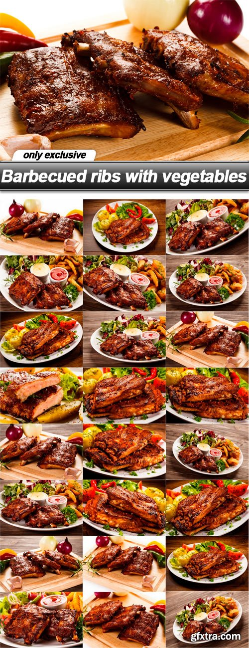Barbecued ribs with vegetables - 25 UHQ JPEG