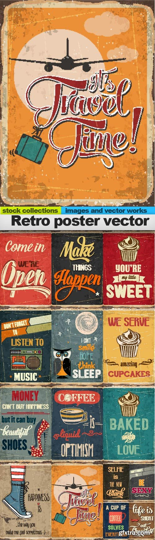 Retro poster vector, 15 x EPS