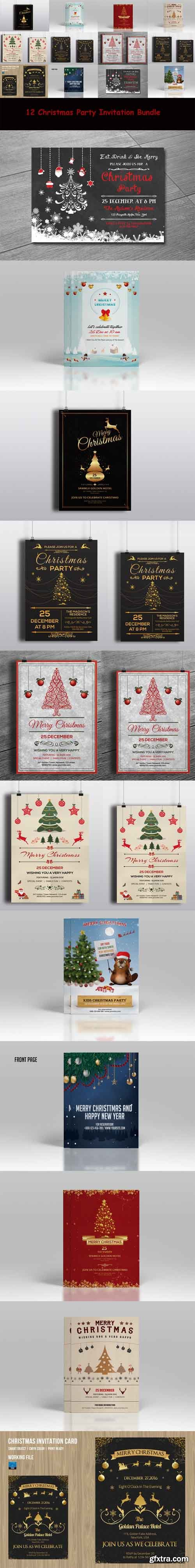 CM - 12 Christmas Invitation flyer Bundle 459496