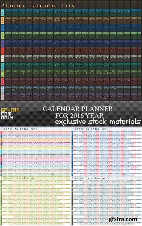 Calendar Planner for 2016 Year - 5 EPS