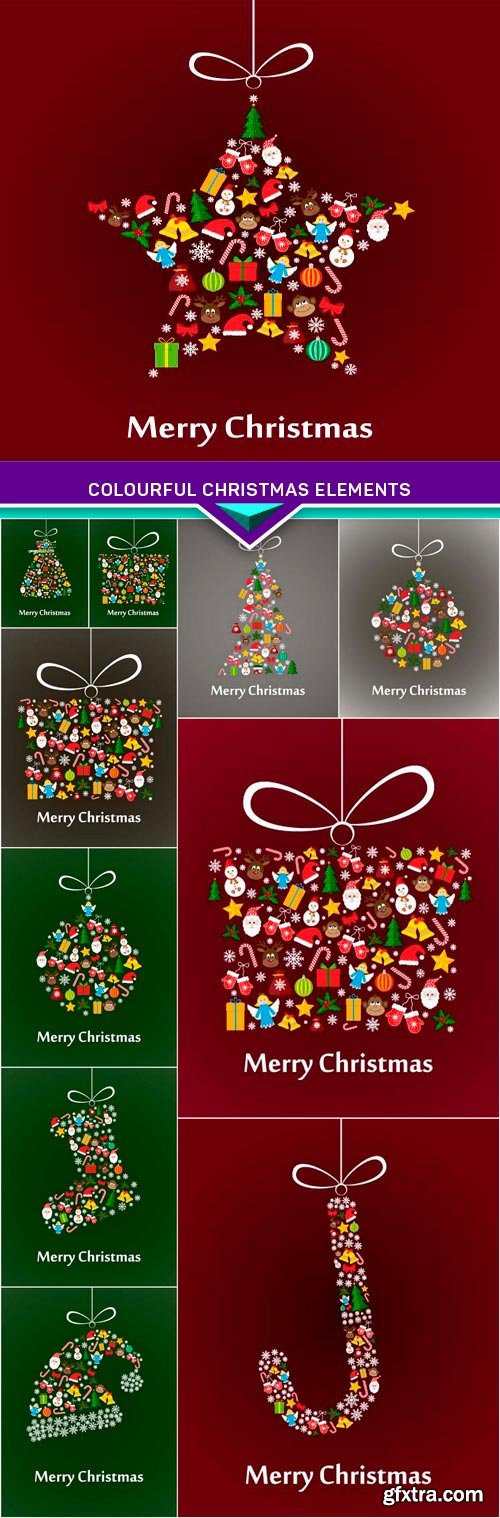 Vector background made of colourful Christmas elements 11x EPS