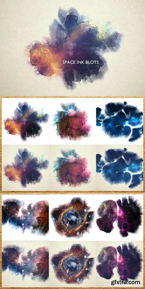 CM - Space Ink Blots Backgrounds Set 330514