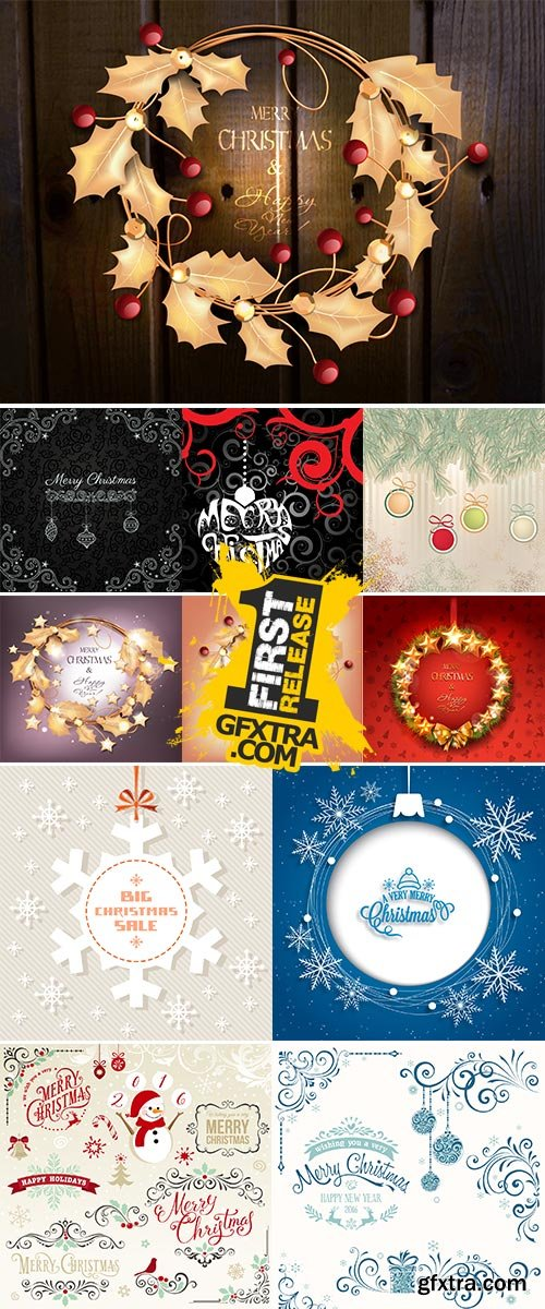 Stock Christmas vector background with snowflakes and elements