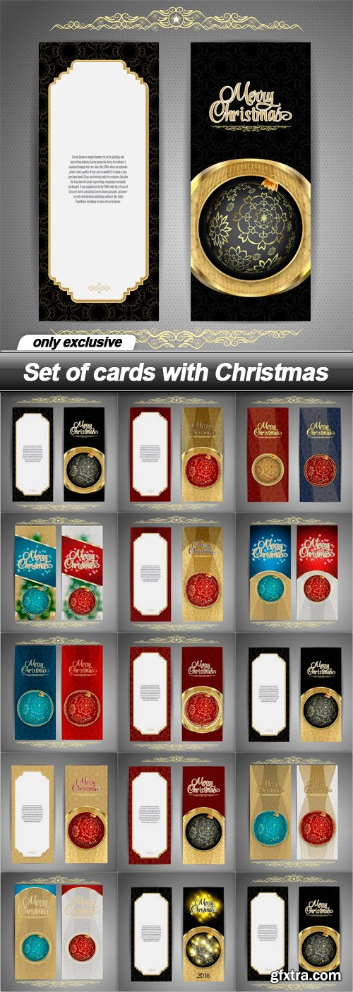 Set of cards with Christmas - 14 EPS
