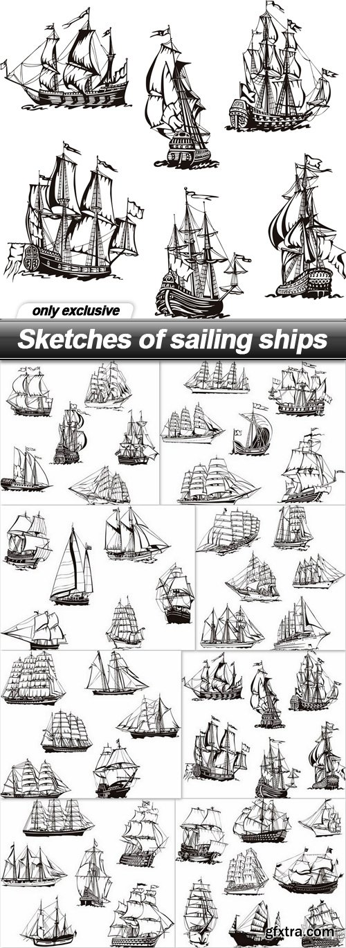 Sketches of sailing ships - 8 EPS
