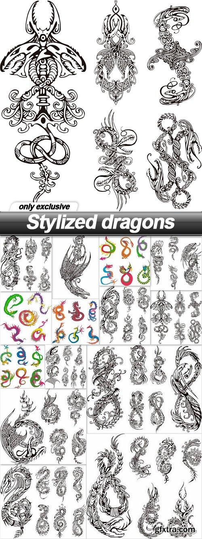 Stylized dragons - 14 EPS