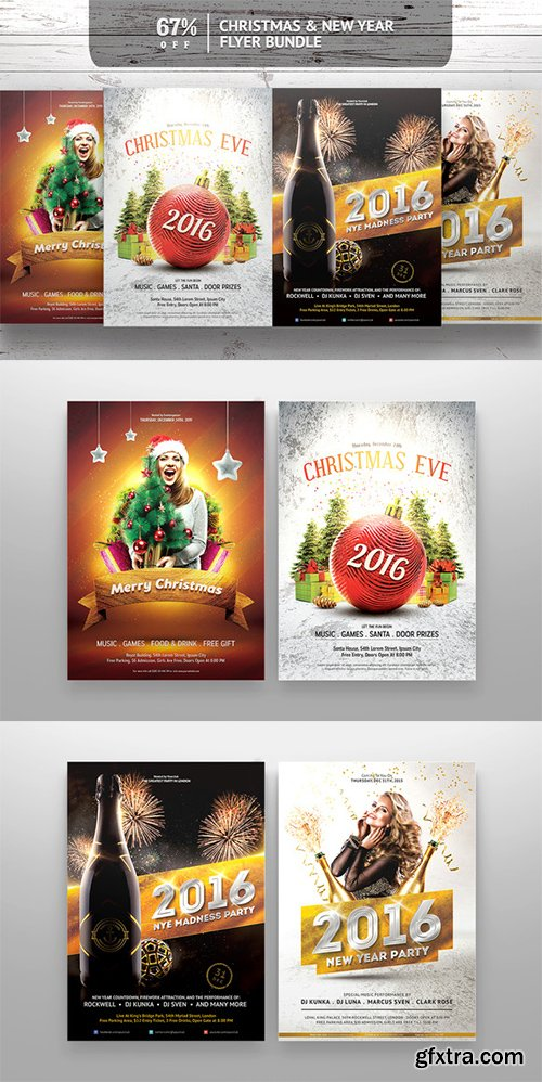 Creativemarket Christmas & New Year Flyer Bundle 469160