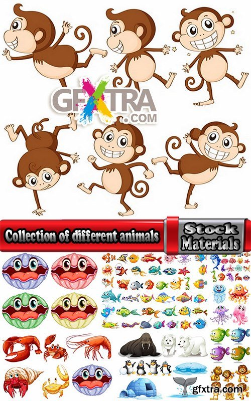 Collection of different animals picture vector cartoon 25 EPS