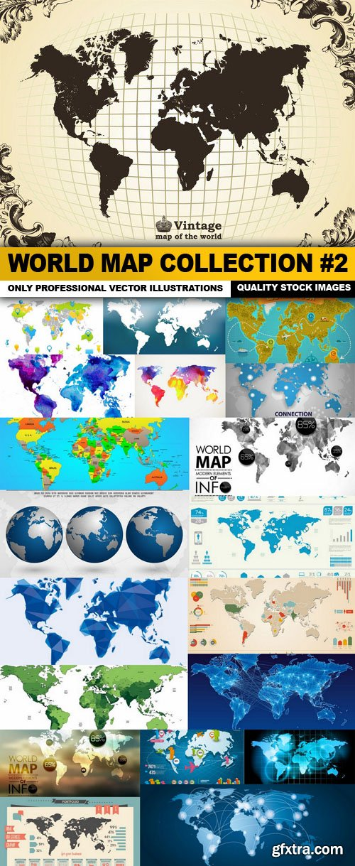 World Map Collection #2 - 20 Vector