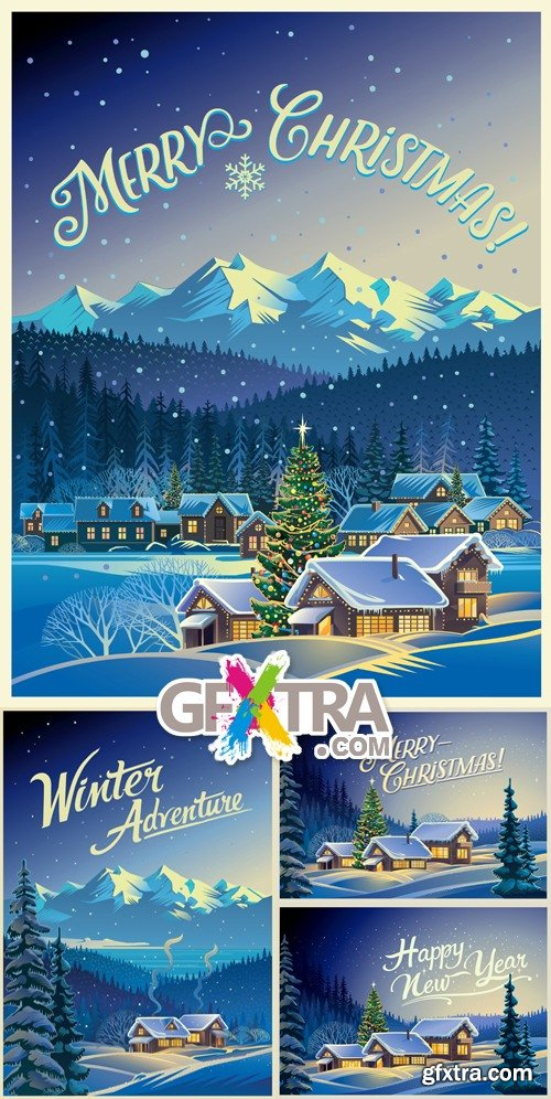 Winter Holidays Postcards Vector