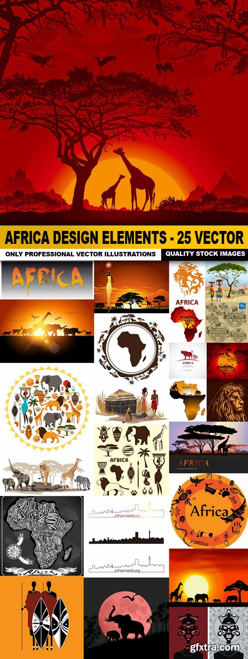 Africa Design Elements - 25 Vector