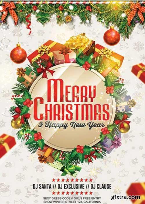 Merry Christmas V4  Premium Flyer Template + Facebook Cover