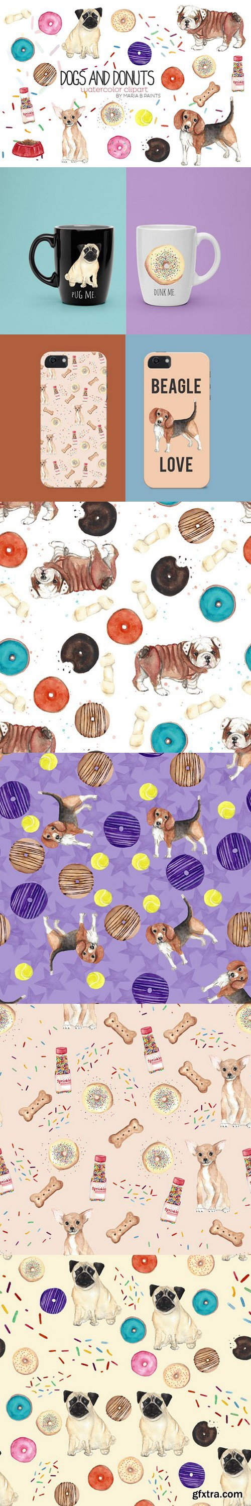 CM - Watercolor Clip Art - Dogs n Donuts 415922