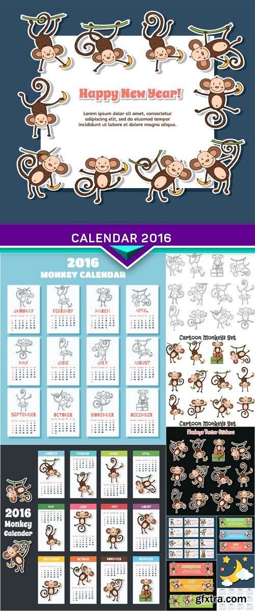 Calendar 2016 Monkey vector illustration 10x EPS