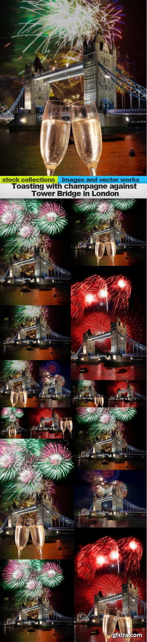 Toasting with champagne against Tower Bridge in London,