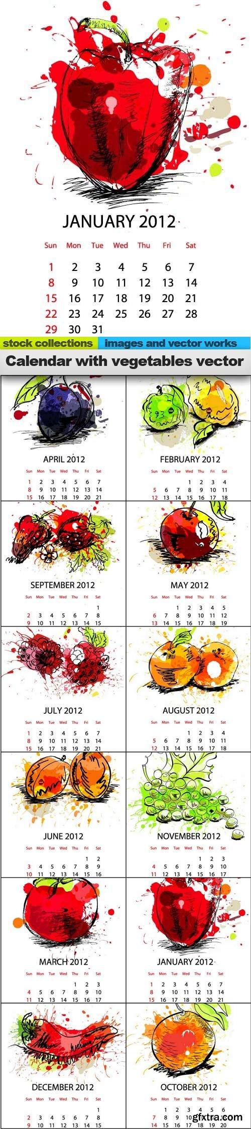 Calendar with vegetables vector, 12 x EPS
