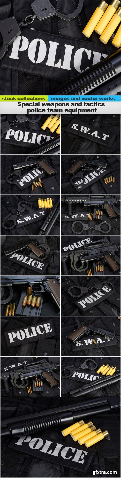 Special weapons and tactics police team equipment, 15 x UHQ JPEG