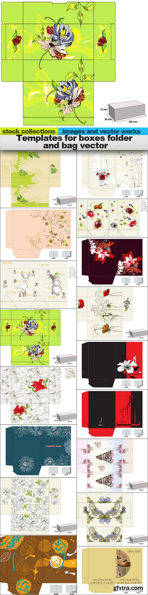 Templates for boxes folder and bag vector, 17 x EPS