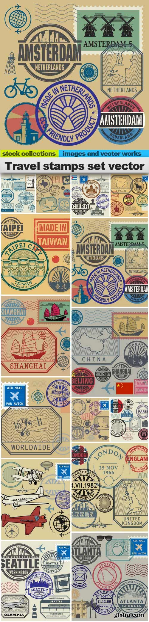Travel stamps set vector, 15 x EPS