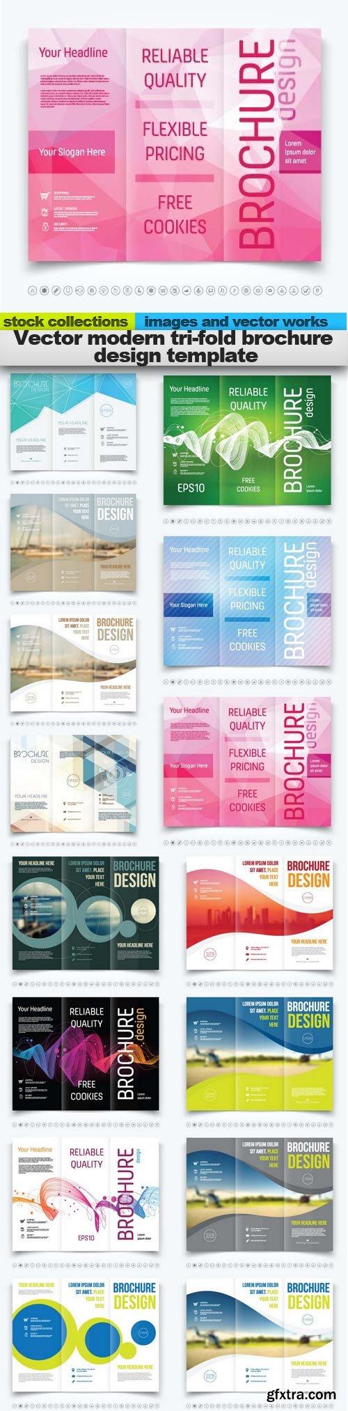 Vector modern tri-fold brochure design template, 15 x EPS