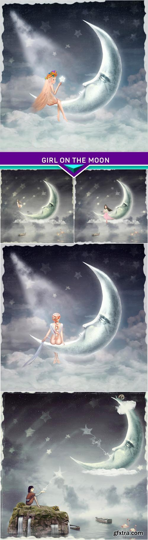 Art illustration of a girl on the moon under the stars 5x JPEG