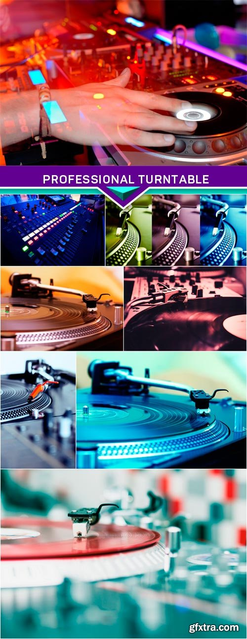 Professional turntable playing record with music 8x JPEG
