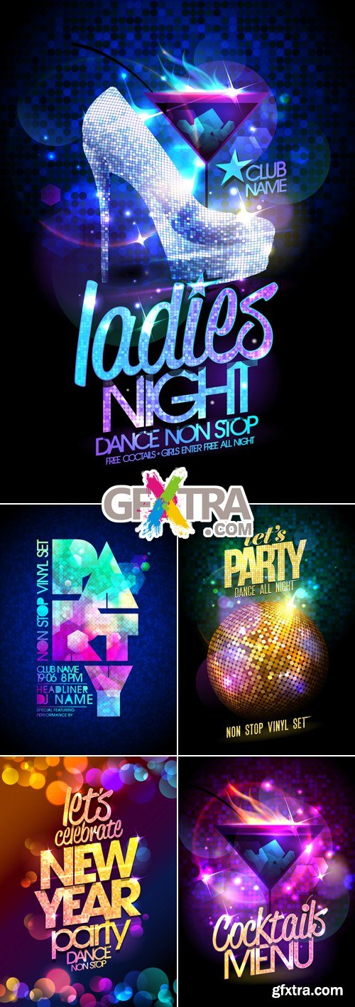 Club Party Posters Vector
