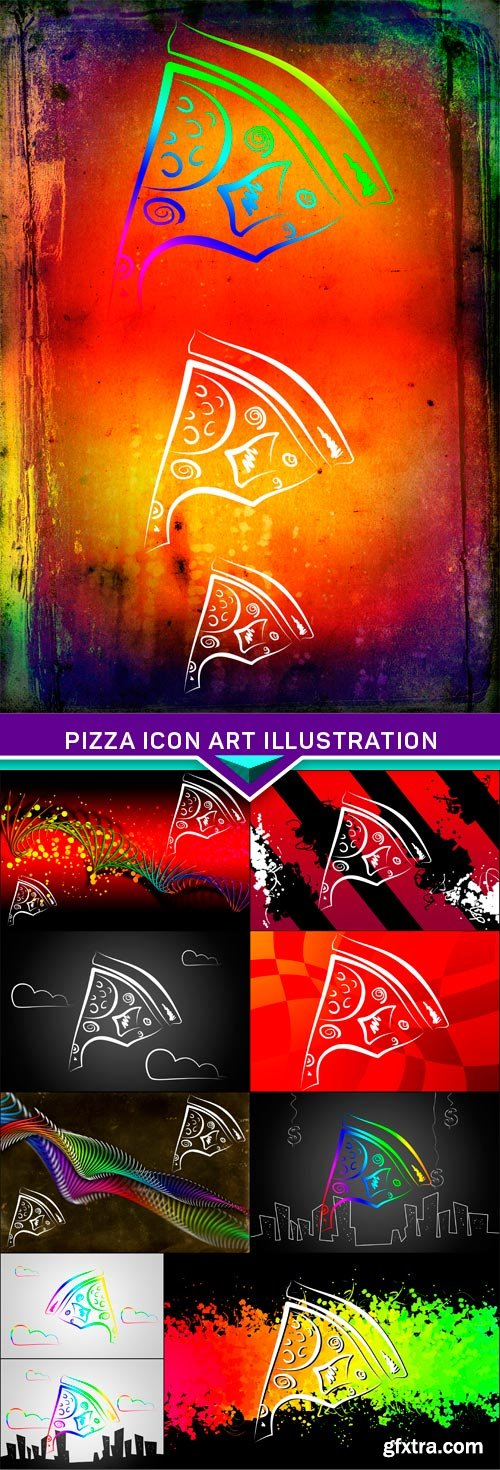 Pizza icon art illustration 10x JPEG