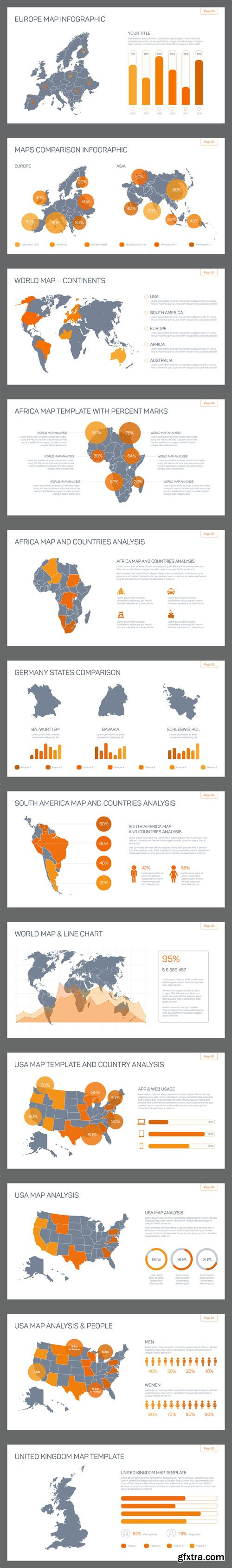 Map infographic templates - Vectors A000035