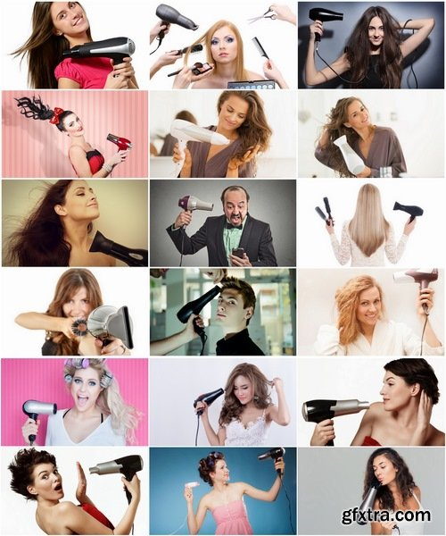 Collection girl woman and a hairdryer 25 HQ Jpeg