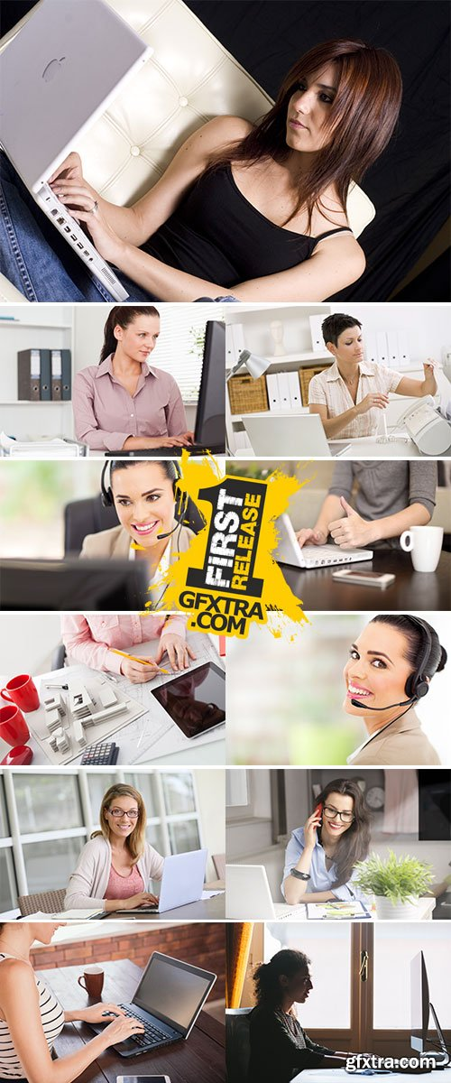 Stock Image Woman Working at Home, Small Office
