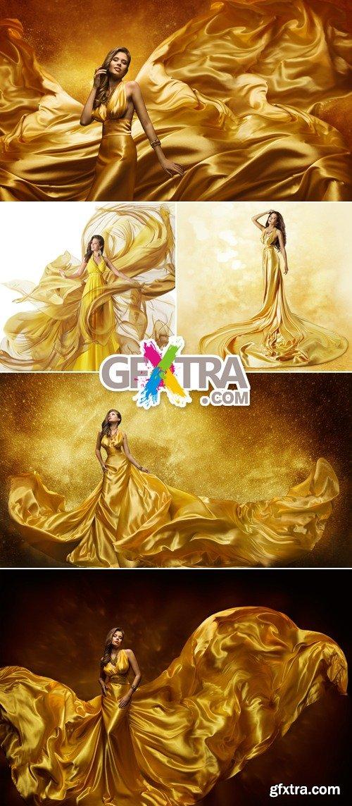 Stock Photo - Woman Wearing Golden Dress