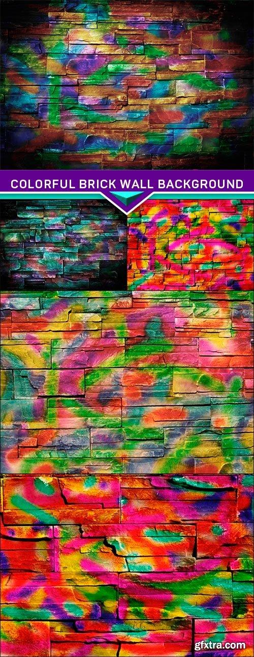 Colorful brick wall background 5x JPEG
