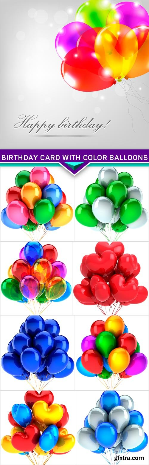 Birthday Card With Color Balloons 9x JPEG