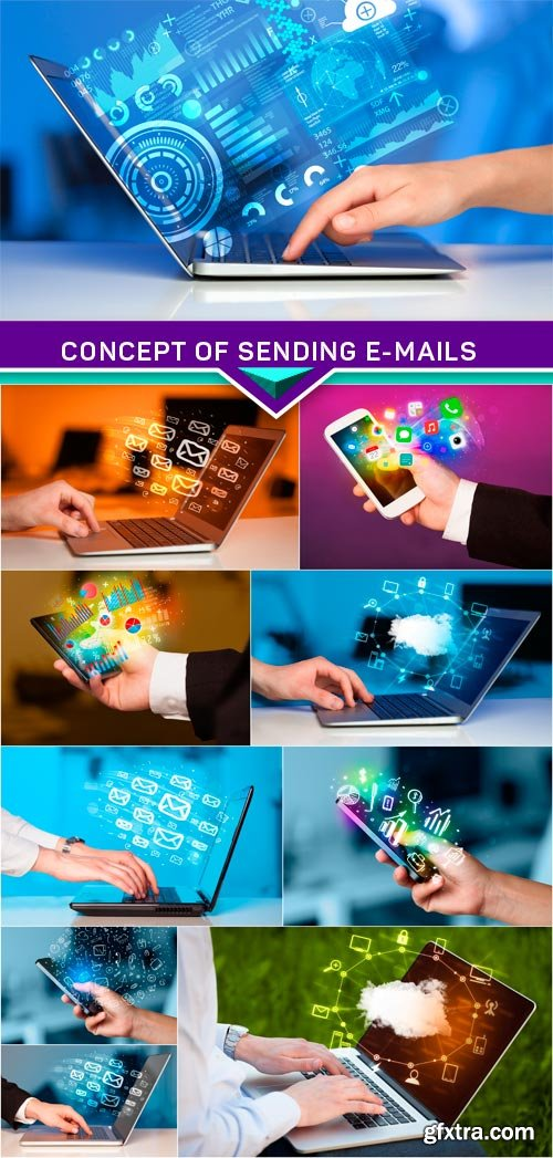 Concept of sending e-mails from your computer 10x JPEG
