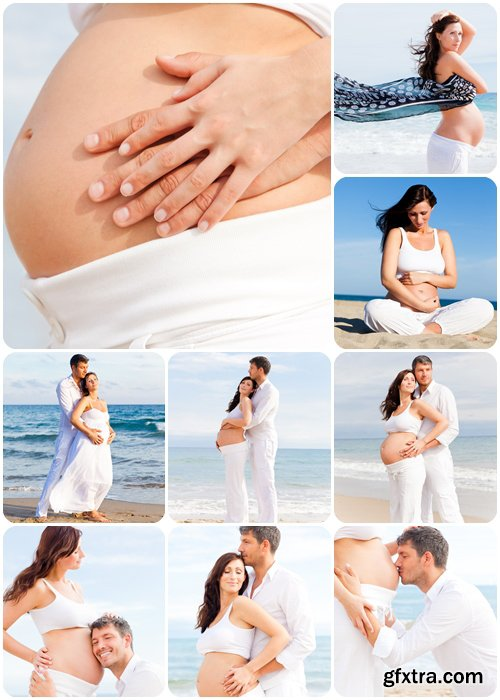 Happy mother and father - family pregnancy in the beach - Stock photo