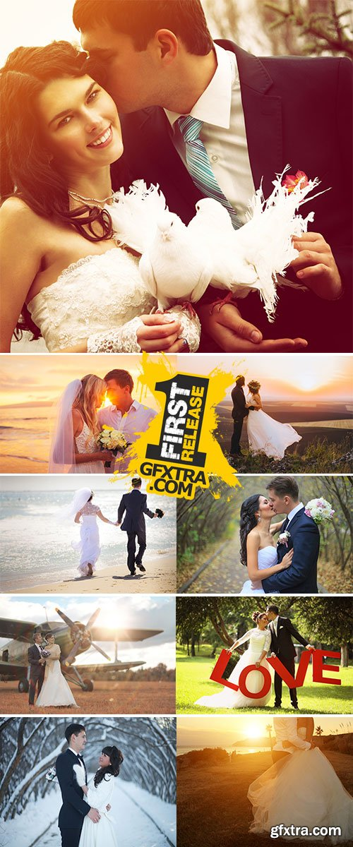 Stock Image Attractive Wedding Couple Outdoors