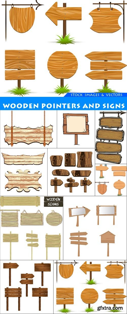 Wooden pointers and signs 10X EPS
