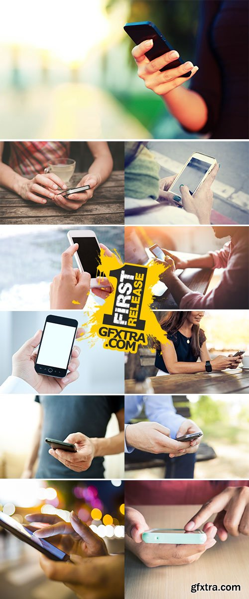 Stock Image People using a smart phone