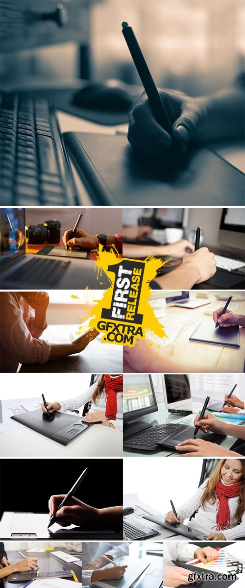 Stock Image People drawing and retouching image on laptop computer